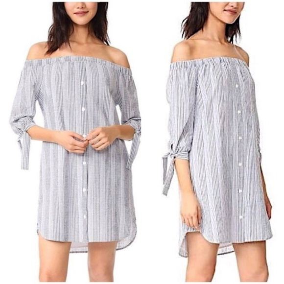 Madewell Dresses & Skirts - MADEWELL | Stripe Off the Shoulder Shift Dress